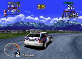 Sega Rally Championship SEGA Saturn Showing off the flat backgrounds.