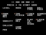One-on-One ColecoVision Choose your game mode.