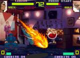 Shin Gōketsuji Ichizoku Tōkon: Matrimelee Neo Geo White Buffalo counterattacking an offensive Kanji Kokuin with his flaming attack Flying Elbow Blow.