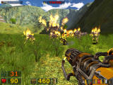 Serious Sam: The Second Encounter Windows The XOP flamethrower, one of your new weapons and a great way to deal with a horde of Kleer Skeletons.