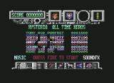 Hysteria Commodore 64 Title Screen displaying Highscores.