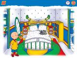 Caillou: Magic Playhouse Windows Mom and Dad's room, and Gilbert asleep on the bed. How did he get here so fast?