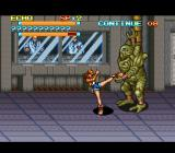 The Peace Keepers SNES Boss-fight against a large mutant.