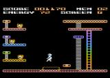 Mr. Robot and His Robot Factory Atari 8-bit Screen G - Landing on a trampoline to survive a long fall