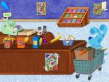 Blue's Clues Preschool Windows At the checkout counter, bagging...