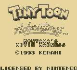 Tiny Toon Adventures 2: Montana's Movie Madness Game Boy Title Screen