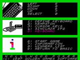 Hollywood Poker ZX Spectrum Main menu