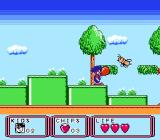Kid Klown in Night Mayor World NES Throwing a balloon at a giant mosquito