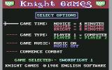 Knight Games Commodore 64 Selected game menu