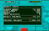 1st Division Manager Amiga The club finances screen
