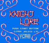 Knight Lore NES Title screen.