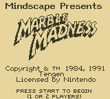 Marble Madness Game Boy Title Screen
