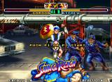 Savage Reign Neo Geo Demonstration match instant where Nicola hit-damages Gordon through a row of jumping-based hits...