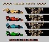Michael Andretti's World GP NES Vehicle selection