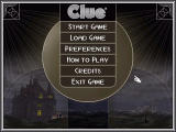 Clue: Murder at Boddy Mansion Windows Main menu