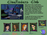 ClueFinders: Mystery Mansion Arcade Windows The menu features dossiers on the Clue Finders team members.