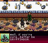 Harry Potter and the Sorcerer's Stone Game Boy Color Harry being sorted into Gryffindor.