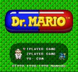 Dr. Mario SNES Title screen / Main menu.