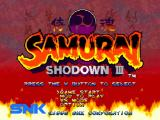Samurai Shodown III: Blades of Blood PlayStation Main menu
