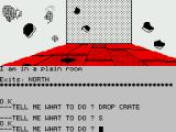 Sorcerer of Claymorgue Castle ZX Spectrum Use the crate to get around