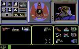 Shadowfire Commodore 64 Object screen: to the left: all objects present, in the middle: objects carried, to the right: icons to manioulate objects