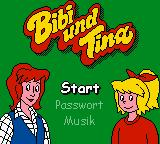 "Bibi und Tina: Fohlen ""Felix"" in Gefahr Game Boy Color Opening screen for the game."