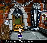 The New Addams Family Series Game Boy Color Selecting Uncle Fester to talk to.