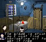 The New Addams Family Series Game Boy Color The first objective is to find oil for the guillotine blade.
