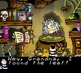 The New Addams Family Series Game Boy Color Grandma gives you a bit of her potion in exchange for a Black Leaf.