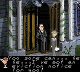 The New Addams Family Series Game Boy Color The game starts with Gomez receiving an eviction notice.