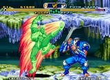 Savage Reign Neo Geo Mezu feels the imminent danger coming from Eagle's move Flash Wing: it's time to a defensive pose...