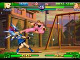 Street Fighter Alpha 3 PlayStation Karin getting kicked by Dan.