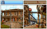 The Koshan Conspiracy DOS Split-screen with hotel and alley (CD version)