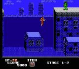 Ninja Crusaders NES Level 1-2 is in a flooded section of city