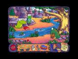 Huggly Saves the Turtles: Thinking Adventures Windows Getting ready to do a Tarzan swing