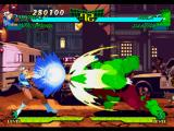Marvel Super Heroes vs. Street Fighter PlayStation Chun-Li attempting to hit-stop Hulk's move Gamma Charge (Forward) using only her Reishiki Kikou Ken.
