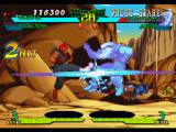 Marvel Super Heroes vs. Street Fighter PlayStation Akuma hit-damaging Omega Red through the first 2 hits of his spinning attack Tatsumaki Zankuu Kyaku.