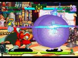 Marvel Super Heroes vs. Street Fighter PlayStation M. Bison executes his Strong Punch while his Psycho Bomb damages Dhalsim with 7 successful hits...
