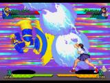 Marvel Super Heroes vs. Street Fighter PlayStation Cyclops' Strong Kick being used simultaneously to Sakura Kasugano's Hyper Combo: Shinkuu Hadouken...