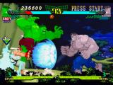 Marvel Super Heroes vs. Street Fighter PlayStation Helped by Ryu's Hadouken, P1 Hulk dashes the sufficient to start his next counterattack in P2 Hulk!