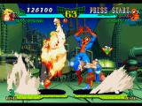 Marvel Super Heroes vs. Street Fighter PlayStation Spider-Man starts to perform a long jump, but Ken Masters' Shoryuken is about to finish this action!