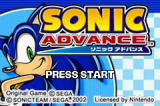 Sonic Advance Game Boy Advance Title Screen