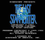 The Last Starfighter NES TItle screen