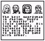 Ultima: Runes of Virtue Game Boy Character Selection Screen