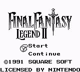 Final Fantasy Legend II Game Boy Main Menu