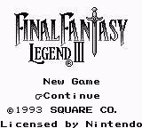 Final Fantasy Legend III Game Boy Main Menu