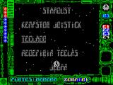 Star Dust ZX Spectrum Main menu
