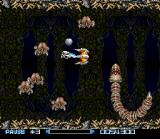 Super R-Type SNES In the final level insect and serpent-like enemies attack you from every angle.