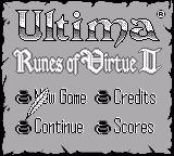 Ultima: Runes of Virtue II Game Boy Title Screen