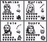 Ultima: Runes of Virtue II Game Boy Character Selection Screen